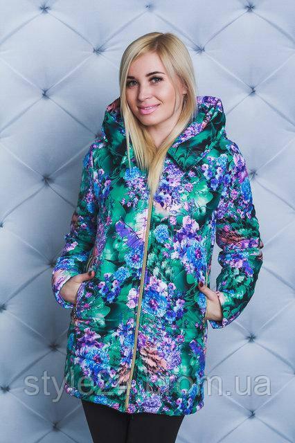 537a7ef8d57ff8 ЖІноча весняна куртка з яскравими квітами.Р-ри 42-54: продажа, цена ...