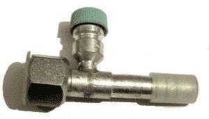 Фитинг заправочный алюминиевый №8 (10мм) прямой 0° с сервисным клапаном 134А с накидной гайкой. O‐ring (кольцо