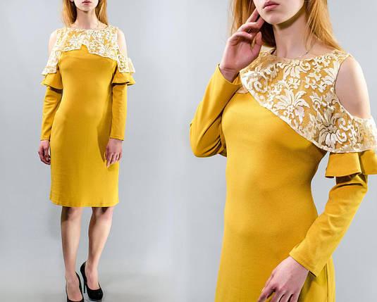 """Нежное женское платье с ажурной накидкой-волан органза, ткань """"Креп-Трикотаж"""" 48 размер батал, фото 2"""