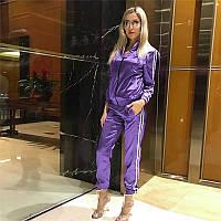 Жіночий атласний спортивний костюм фіолетовий