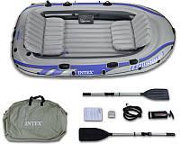 Четырехместная надувная лодка Intex + алюминиевые весла и ручной насос Excursion 4 Set 315x165x43 cм (68324)
