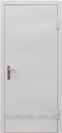 Техническая металлическая дверь модель одно листовая светло серая., фото 2