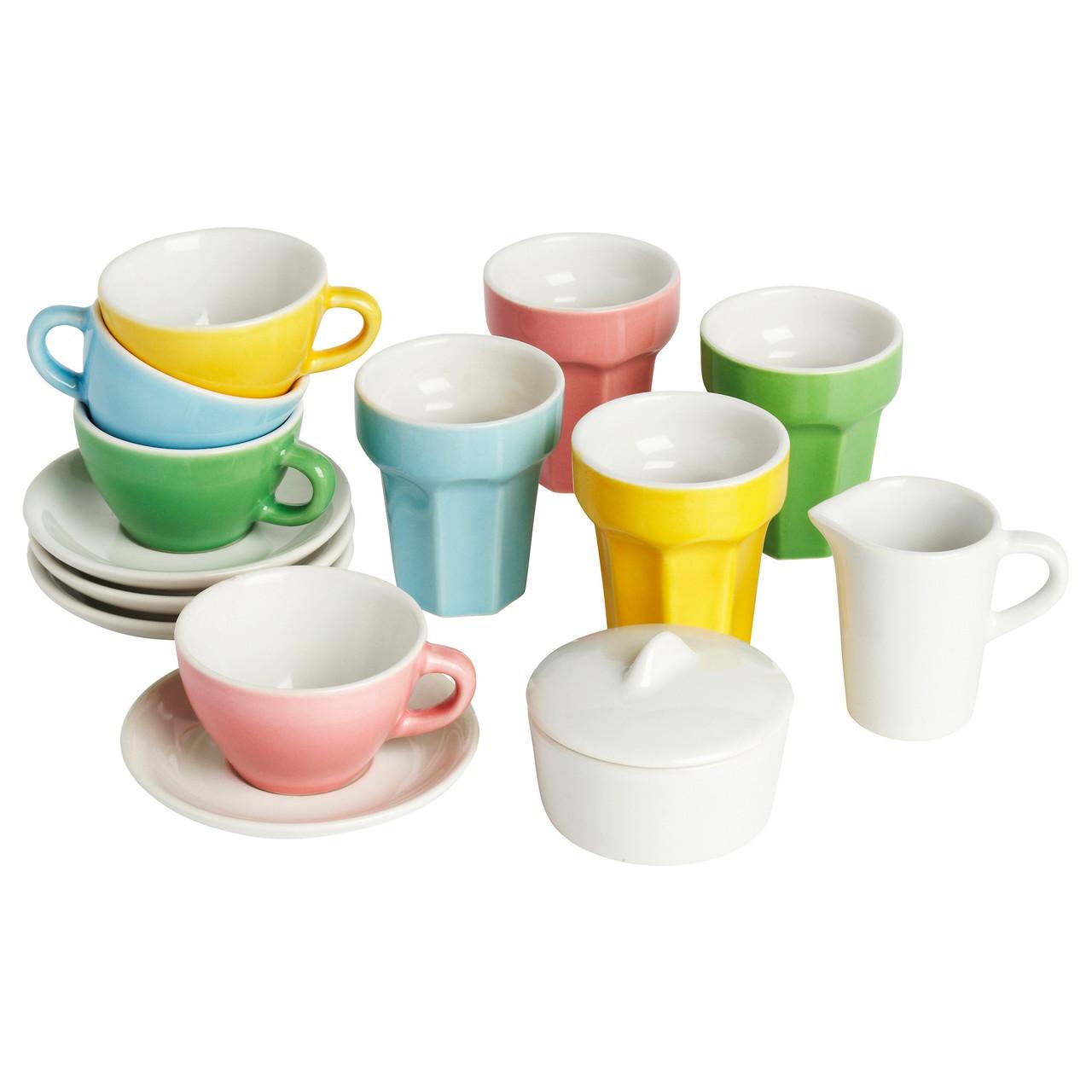 ДУКТИГ Игрушечной чайный сервиз, 10 предметов, разноцветный 90130163 IKEA, ИКЕА, DUKTIG