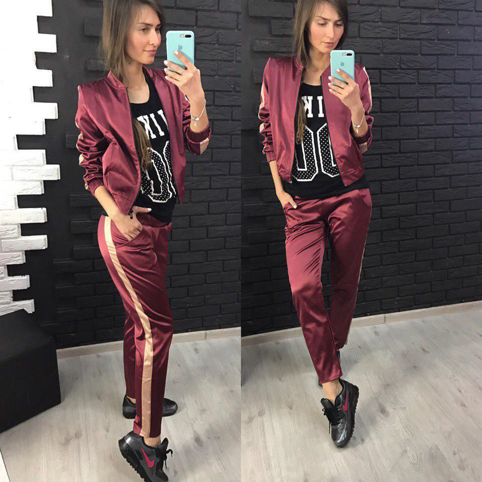 Женский атласный спортивный костюм бордовый (марсала)