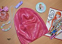 Легкая, яркая шапка для девочек весна-осень малина, фото 1