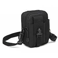 Тактическая универсальная (поясная) сумка - подсумок с ремнём Mini warrior с системой M.O.L.L.E Black (с102)