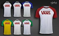 Мужская спортивная футболка реглан ванс/Vans
