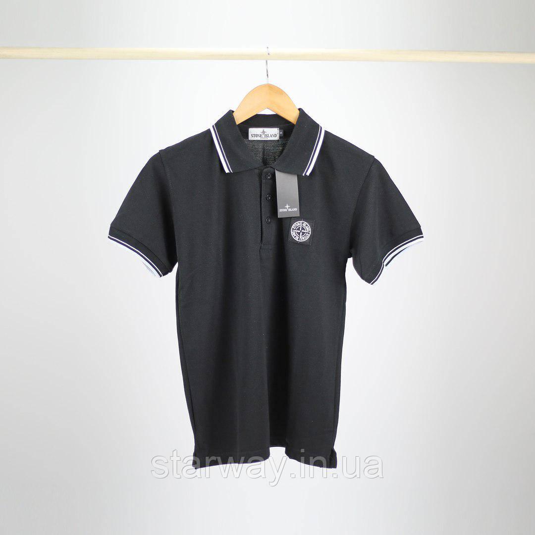 Футболка Поло | Тенниска Stone Island лого вышивка | Бирка+