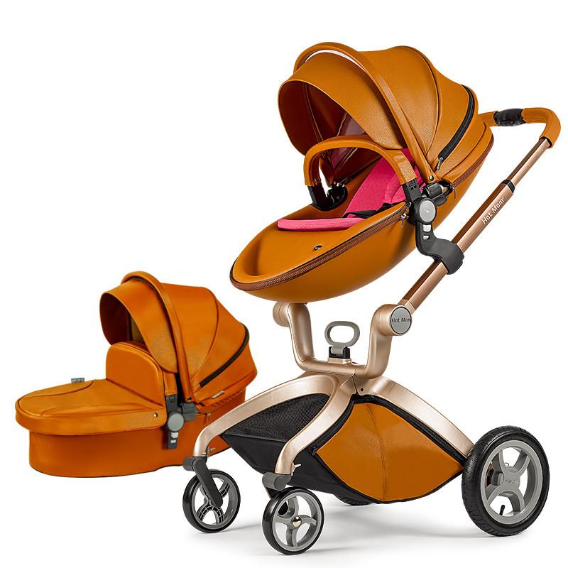 Оригинальная детская коляска 2в1 Hot Mom Коричневая (Рыжая) эко-кожа Прогулочная и люлька