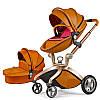 Детская коляска 2 в 1 Hot Mom 2017 Коричневая (Рыжая) эко-кожа Прогулочная и люлька