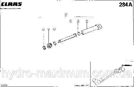 ГИДРОЦИЛИНДР, РАЗГРУЗКА БЕНКЕРА - CLAAS LEX 460-440 (2)