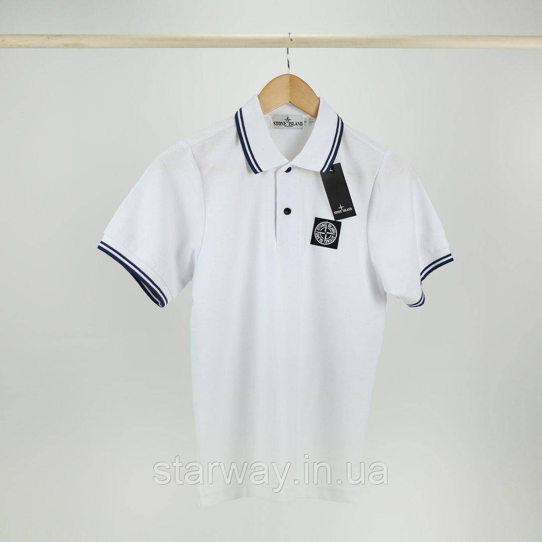Футболка Поло | Тенниска стильная Stone Island лого вышивка | Бирка+