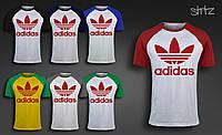 Молодежная спортивная футболка реглан адидас ориджиналс Adidas Originals