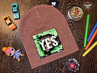 Демисезонная стильная детская шапка Польша терракот, фото 1