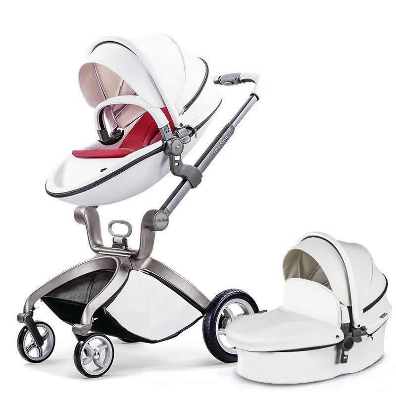 Детская коляска 2в1 Hot Mom 2017 Белая эко-кожа Прогулочная и люлька