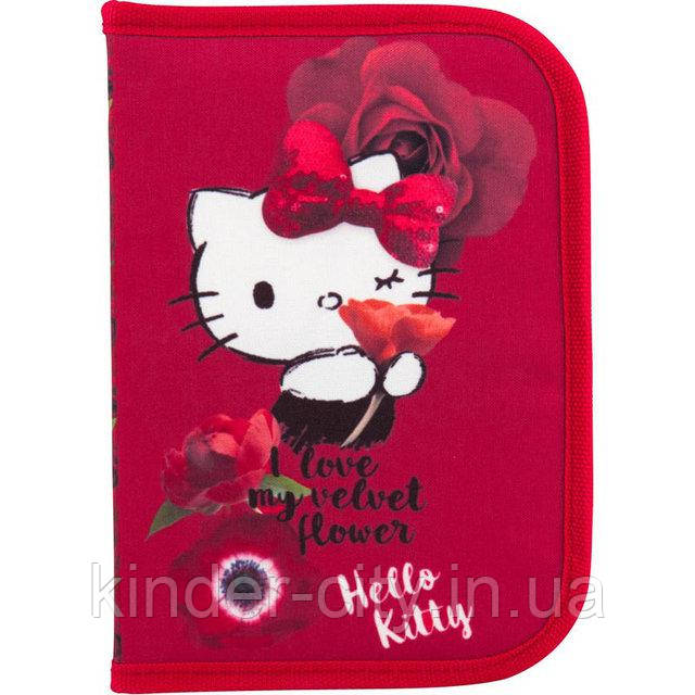 Пенал Kite твердый HK18-622 на одно отделение с двумя отворотами для девочки Hello Kitty