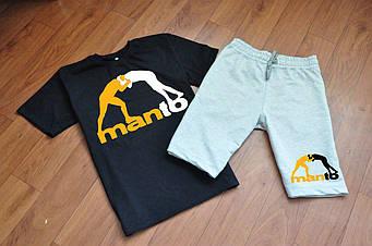 Мужской комплект футболка + шорты Manto черного и серого цвета (люкс копия)