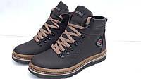 Кожаные мужские зимние ботинки кроссовки Ecco экко коричневые