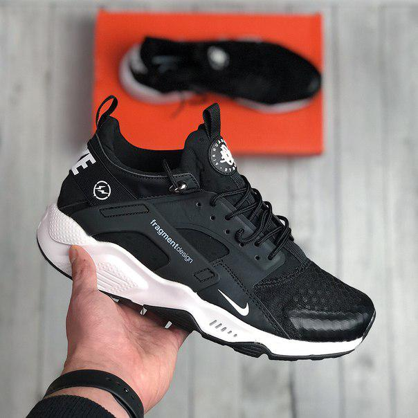 Мужские кроссовки Nike Air Huarache Fragment design black white, топ реплика