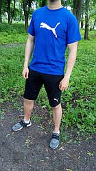 Мужской комплект футболка + шорты Manto синего и черного цвета (люкс копия)