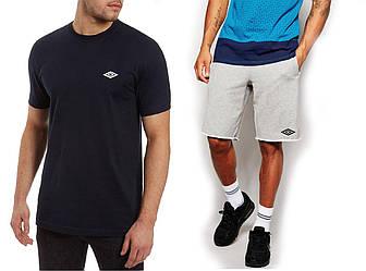 Мужской комплект футболка + шорты Umbro серого и черного цвета (люкс копия)