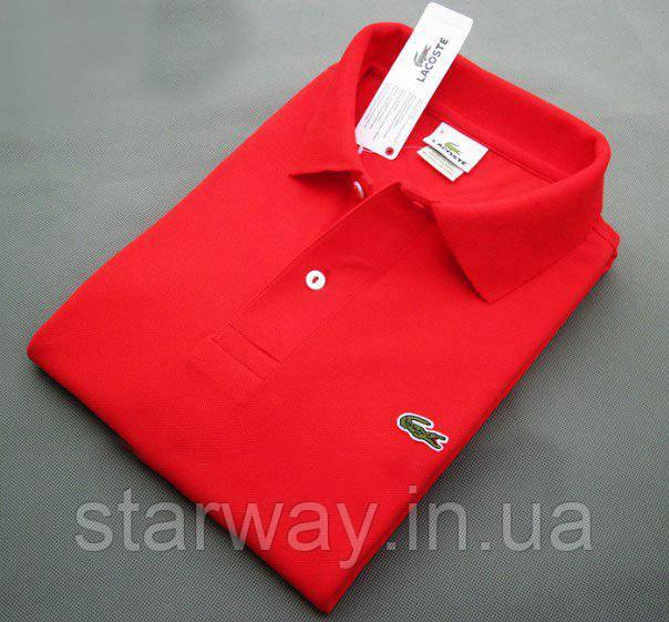 Футболка поло | красная тенниска Lacoste логотип вышивка | бирка