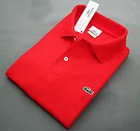 Футболка поло | красная тенниска Lacoste логотип вышивка | бирка, фото 1
