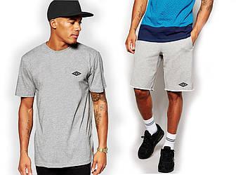 Мужской комплект футболка + шорты Umbro серого цвета (люкс копия)