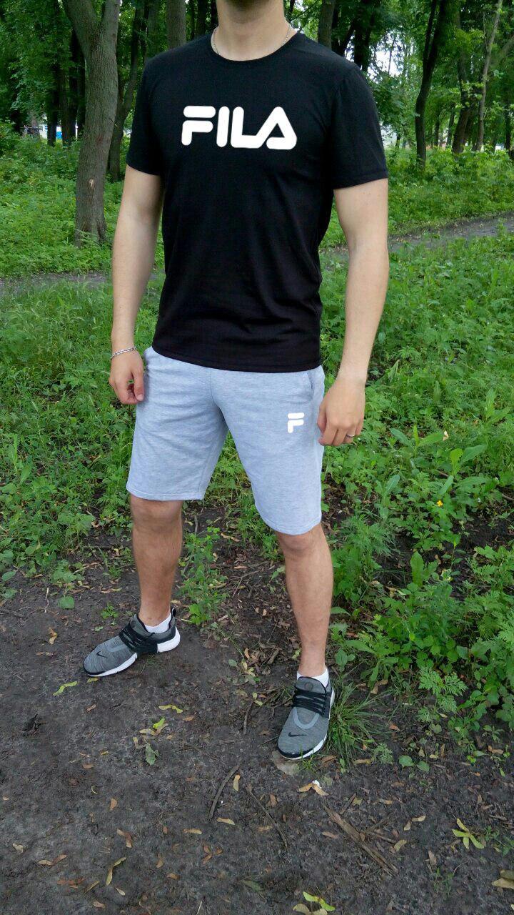Мужской летний комплект футболка и шорты Фила (Fila), футболки и шорты Турейкий трикотаж, копия