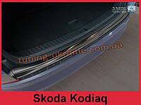 Накладка на задний бампер с загибом на Skoda Kodiaq 2016 черная, фото 1