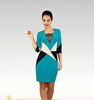 """Стильное платье с геометрическими вставками ткань """"Креп трикотаж"""" размер 42-48 50-56 норма и батал"""