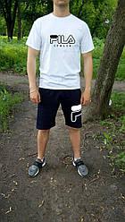 Мужской комплект футболка + шорты FILA черного и белого цвета (люкс копия)