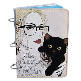Блокнот Fisher Gifts Элегант А6 25 Девушка с котиком (эко-кожа)