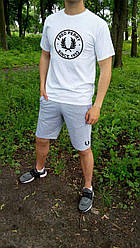 Мужской комплект футболка + шорты Fred perry белого и серого цвета