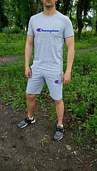 Мужской комплект футболка + шорты Champion серого цвета