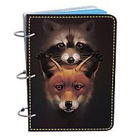 Блокнот Fisher Gifts Элегант А6 710 Енот и лисичка (эко-кожа)