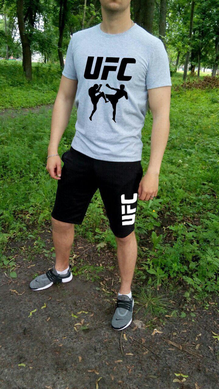 Мужской летний комплект футболка и шорты ЮФС (UFC), футболки и шорты Турейкий трикотаж, копия