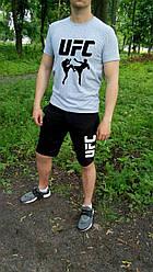 Мужской комплект футболка + шорты UFC серого и черного цвета (люкс копия)