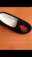 Туфли черные домашние женские Трикотаж с вышивкой красной Литма