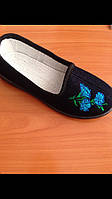 Тапочки черные домашние женские Трикотаж с вышивкой синей Литма