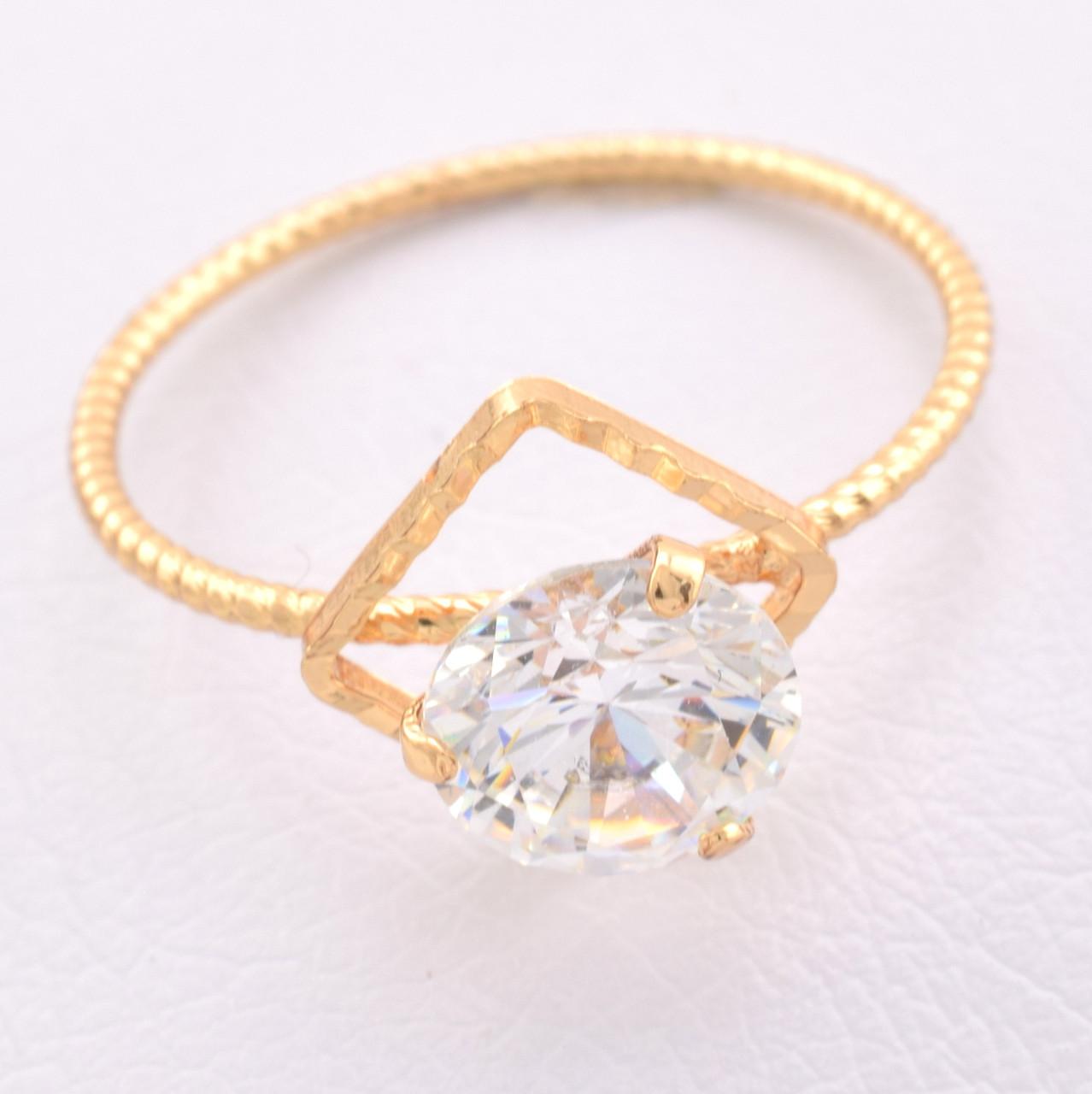 Кольцо 15493 размер 16, белый фианит, позолота 18К