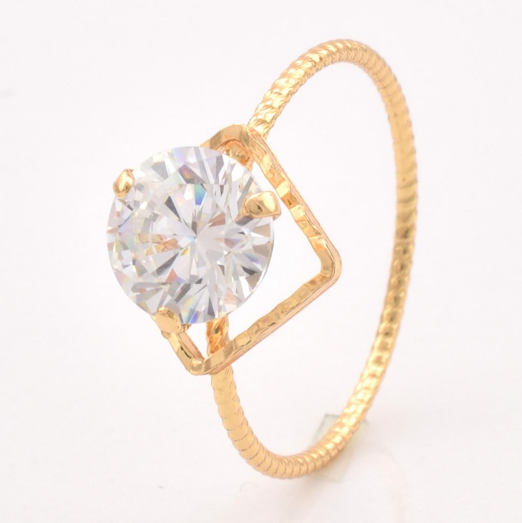 Кольцо 15493 размер 20, белый фианит, позолота 18К