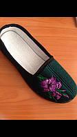 Тапочки зеленые домашние женские Трикотаж с вышивкой Литма