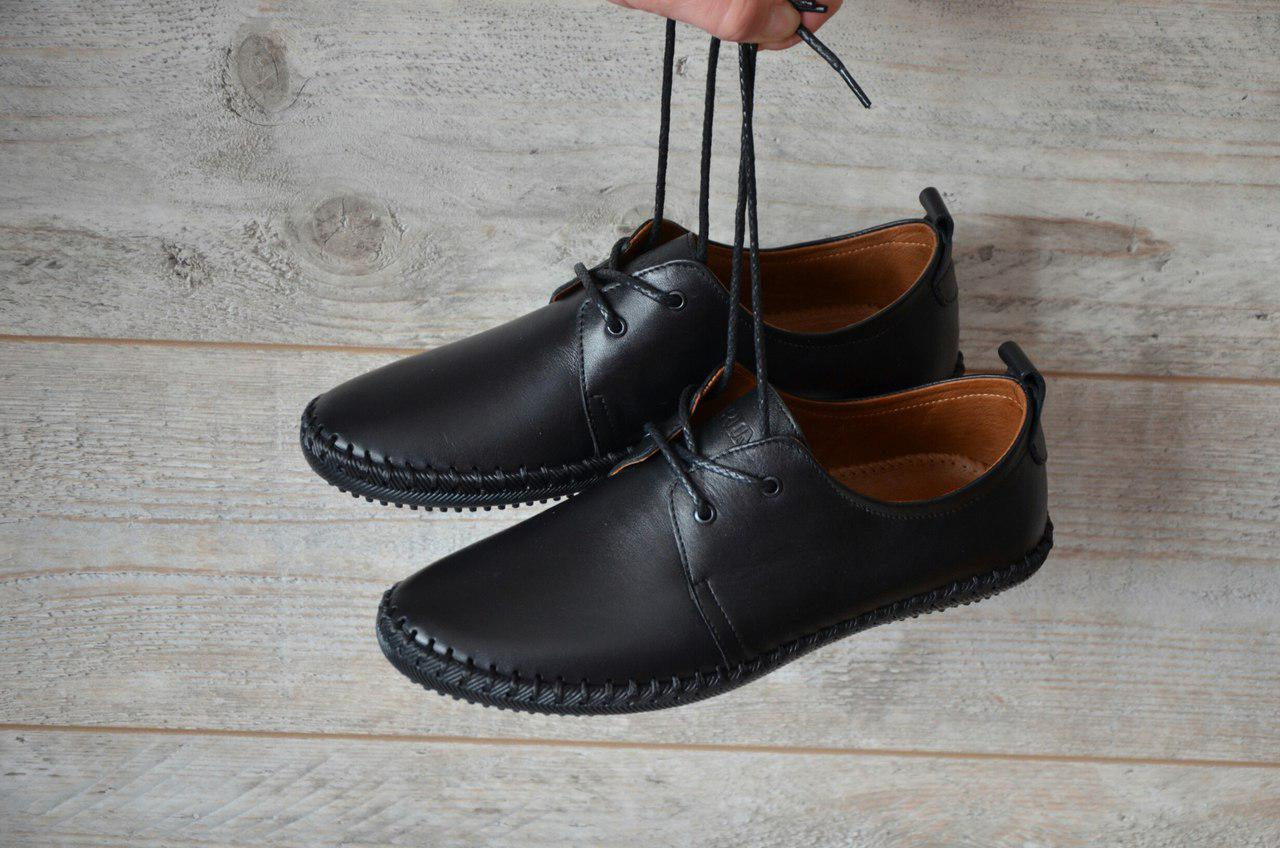 425025175 Мужские спортивные туфли-мокасины 33 Black Leather - Компания