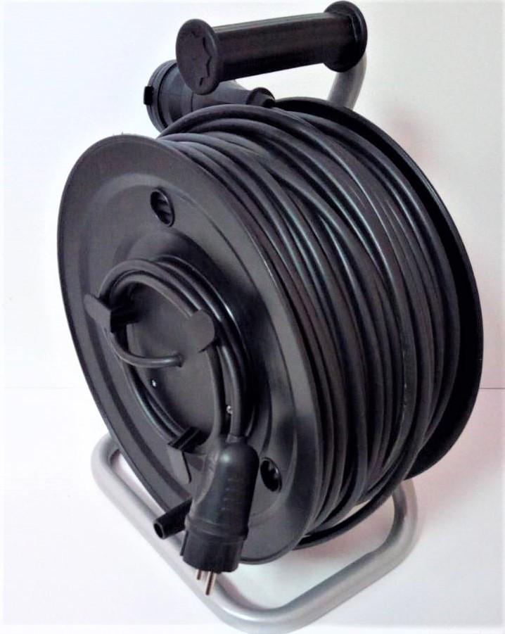 Электрический удлинитель на катушке без з/к с выносной розеткой  60м (ПВС 2*2,5)ЛІДЕР ЕНЕРГО КОМПЛЕКТ
