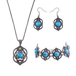 Комплект Ожерелье, серьги, браслет, голубая бирюза, под старое серебро.