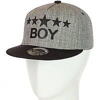 Кепка с прямым козырьком Boy серый-черный, фото 1
