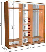 Шкаф-Купе с двумя фасадами 2200х600х2400 Влаби