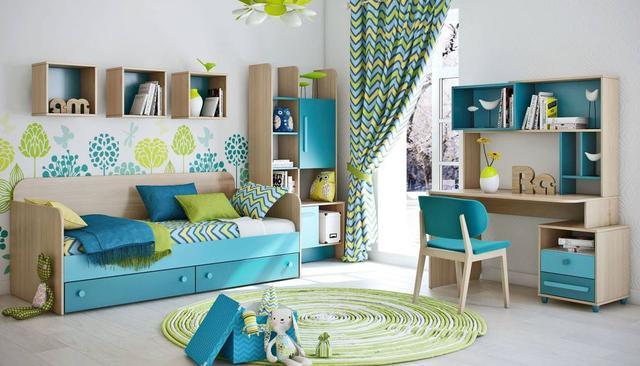 Детская комната Акварели (бирюзовая)