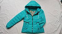 Куртка подростковая демисезонная для девочки 10-14 лет, бирюзовая